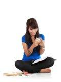 逗人喜爱的女孩handphone藏品 免版税图库摄影