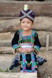 逗人喜爱的女孩hmong老挝 库存照片