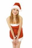 逗人喜爱的女性圣诞老人 库存照片