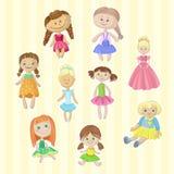 逗人喜爱的女性玩偶设置了,小女孩动画片传染媒介例证的可爱的玩具 库存例证