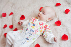 逗人喜爱的女婴在花瓣在 库存照片