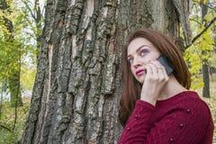 逗人喜爱的妇女在秋天在公园谈话在电话 免版税库存照片