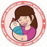 逗人喜爱的妈妈和婴孩为在动画片样式,传染媒介例证的母亲节 免版税库存照片
