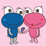 逗人喜爱的妖怪青蛙熊对爱 免版税库存照片
