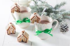 逗人喜爱的姜饼村庄用在圣诞节的鲜美可可粉 免版税库存照片