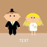 逗人喜爱的婚礼夫妇。传染媒介卡片。邀请。 免版税库存照片