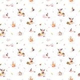 逗人喜爱的婴孩动画片猬、灰鼠和麋动物nursary的,森林地森林的水彩无缝的样式 免版税库存图片