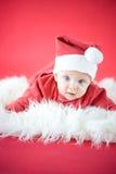 逗人喜爱的婴孩圣诞老人 免版税库存照片
