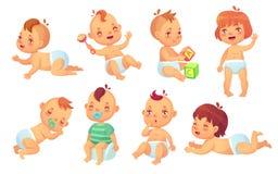 逗人喜爱的婴孩 愉快的动画片婴孩,微笑的和笑的小孩被隔绝的传染媒介字符集 向量例证