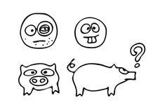 逗人喜爱的字符小猪和面带笑容剪影  库存照片
