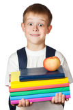 逗人喜爱的学员是藏品书和苹果。 查出 库存照片