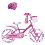 逗人喜爱的孩子为女孩和防护盔甲骑自行车 在空白背景查出的向量例证 库存照片
