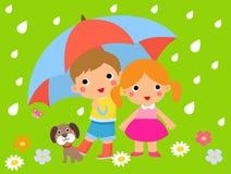 逗人喜爱的孩子和伞 免版税库存图片