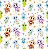 逗人喜爱的孩子无缝的样式机器人火箭 孩子不尽的背景,纹理,墙纸 也corel凹道例证向量 图库摄影