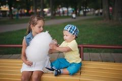 逗人喜爱的孩子用棉花糖在公园 免版税库存图片