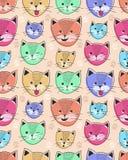 逗人喜爱的孩子的猫无缝的样式 库存图片