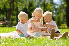 逗人喜爱的孩子获得乐趣在公园 免版税库存照片