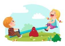 逗人喜爱的孩子获得在跷跷板的乐趣在操场 图库摄影