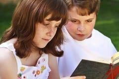 逗人喜爱的孩子阅读书画象在自然环境里 库存照片