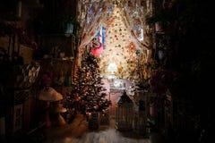 逗人喜爱的室装饰与圣诞节装饰元素和圣诞树 库存图片