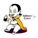 逗人喜爱的小吸血鬼德雷库拉年轻人,有新血液的乳头瓶 免版税库存图片