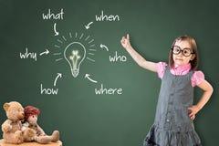 逗人喜爱的小女孩佩带的企业礼服和分析问题和发现解答,在绿色粉笔板 免版税库存图片