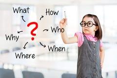 逗人喜爱的小女孩佩带的企业礼服和分析问题 办公室背景 免版税库存图片