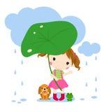 逗人喜爱的小女孩和动物 免版税库存图片