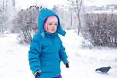 逗人喜爱的小女孩在冬天公园走 免版税库存图片