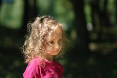 逗人喜爱的小女孩在森林里,严肃的神色,卷发,晴朗的夏天画象 免版税图库摄影