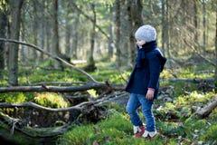 逗人喜爱的小女孩探索的秋天森林在春天小河之前 免版税库存图片
