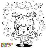 逗人喜爱的小女孩玩杂耍的果子彩图页 库存例证