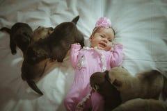逗人喜爱的小女孩的图象桃红色衣服和小狗的 免版税库存照片