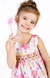 逗人喜爱的小女孩纵向公主礼服的 库存照片