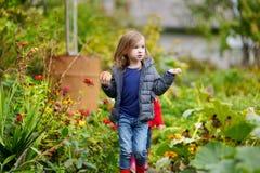 逗人喜爱的小女孩获得乐趣在庭院 库存照片