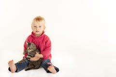 逗人喜爱的小女孩藏品宠物小猫 免版税库存照片