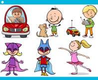 逗人喜爱的小孩动画片集合 免版税库存图片