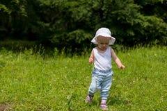 逗人喜爱的小孩女孩连续婴孩步本质上 免版税库存图片