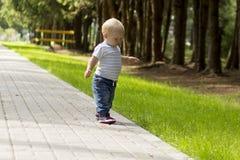 逗人喜爱的小孩ow步行在夏天公园 走在一个美丽的夏天庭院里的可爱的男婴 库存照片