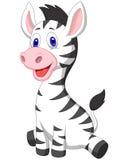 逗人喜爱的小斑马动画片 免版税库存图片