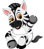 逗人喜爱的小斑马动画片 库存照片