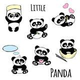 逗人喜爱的小熊猫集合 向量例证