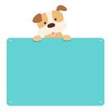 逗人喜爱的小狗举行空的板 库存照片