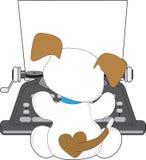逗人喜爱的小狗打字机 图库摄影