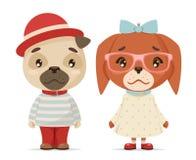 逗人喜爱的小狗男孩女孩怪杰当幼童军行家吉祥人动画片平的设计传染媒介例证 向量例证