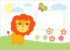 逗人喜爱的小狮子简单的传染媒介背景 免版税库存照片