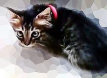逗人喜爱的小猫污点绘画有Pixelate背景 图库摄影