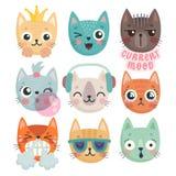 逗人喜爱的小猫 用不同的情感-喜悦、愤怒,happines和其他的字符 向量例证