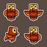 逗人喜爱的小猫头鹰摘要动画片 库存图片