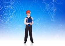 逗人喜爱的小男孩工程师 免版税库存照片